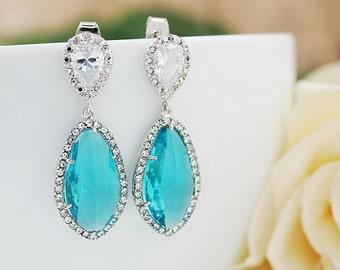 Wedding Jewelry Bridal Earrings Bridesmaid Earrings Dangle Earrings LUX Blue Zircon with cubic zirconia drop Earrings