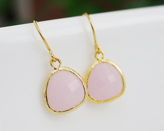 Pink Opal Ice Pink Glass drop dangle Earrings - Bridesmaid gift, Bridesmaid Earrings, Bridesmaid Jewelry, Wedding, Christmas gift for her