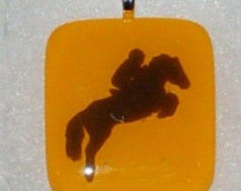 Fused Glass EquestrianPendant - gold and black