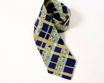 Vintage Silk necktie by Marja Kurki - blue green gold paisley stripes