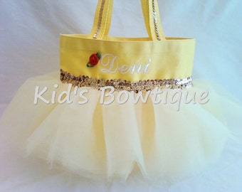 Halloween Personalized Tutu Tote Bag- add to your Princess Belle Halloween Costume