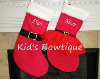 Personalized Santa and Mrs.Claus Christmas Stockings Set - Monogrammed Red Holiday Stockings