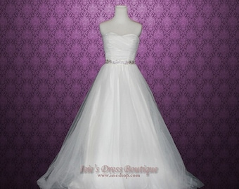 Fairytale Strapless Sweetheart Tulle A-line Wedding Gown.