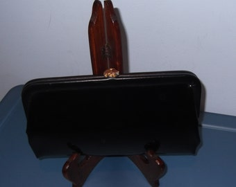 Black Patent Clutch Bag Gold Clasp Free Shipping
