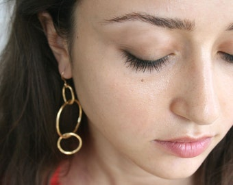 14k Gold Hoop Earrings - Large Gold Hoops - Triple Hoop Earrings | Handcrafted Jewelry