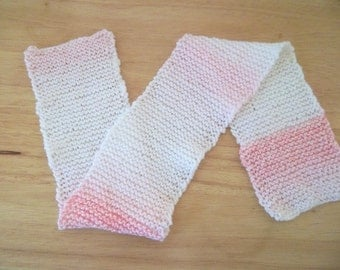 Scarf - Hand Knitted Scarf for Girls in White and a Little Pink