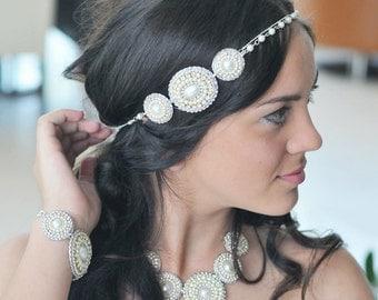 Vintage beaded headband-handmade and unique-wedding headband or prom handband