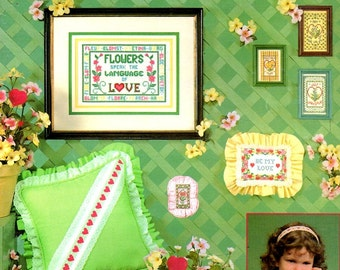 Hearts and Flowers Sampler Love Valentine Pillow Birth Announcement Counted Cross Stitch Embroidery Pattern Craft Leaflet Leisure Arts 230