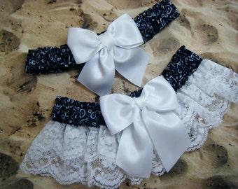 Navy Blue Bandana White Satin White Lace Wedding Garter Toss Set