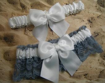 White Satin Chambray Blue Lace Wedding Garter Bridal Set
