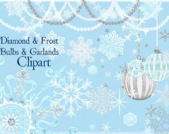 Christmas Clipart, Snowflake Clipart, Garland Clipart, Holiday Clipart