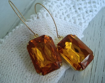 Vintage Faceted Topaz Czech Crystal Glass Gold Earrings