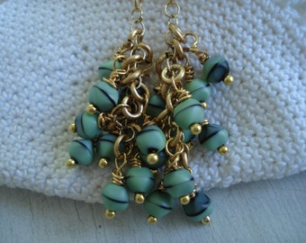 Mint Chocolate Chip Vintage Art Deco Glass Cascading Gold Dangle Earrings