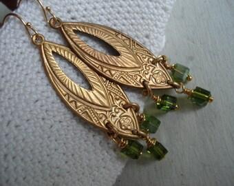 SALE Vintage 1960's Art Deco Gold Dangles Peridot Swarovski Crystal Glass Cube Beads Earrings