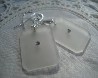 Vintage Frosted Camphor Glass Drops Rhinestone Silver Earrings 1920's White