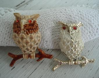 SALE Vintage Pair Brooch Pins Enamel Rhinestone Figural Owl Medicine Totem Set of Two Woodland