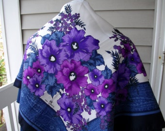 Vintage Large Scarf Shawl Blue Purple White Black Graphic Floral