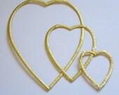 Gold Foil VALENTINE HEART Love FRAMES set of 3 embossed Die Cut Victorian Scrap Dresdens Germany