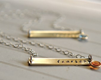 Travel Gift Bar Necklace Fearless Jewelry Horizontal Bar Necklace Travelling Gift Birthstone Sterling Silver ONE in Listing