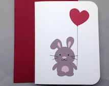 Bunny Rabbit with Heart Balloon (some bunny loves you!) Valentine's/Wedding/Anniversary/Engagement A2 Folded Card