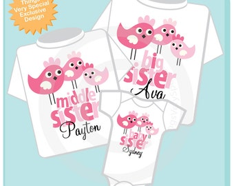 Girls Set of Three Big Sister, Middle Sister, Baby Sister Birdie Shirts and Onesie Personalized with your child's name (06272013c)
