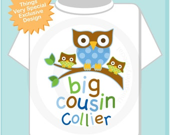 Big Cousin Owl with Twin Baby Cousins Tee Shirt or Onesie (03242015b)