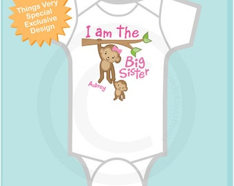 I am the Big Sister Shirt or Onesie, Personalized I'm the Big Sister Shirt with Monkeys (06182013a)