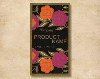 Custom Stickers - Product Labels - Vintage Labels - Authentic Vintage - Floral, Flowers  L7