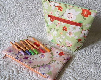 Fast and Easy Zippered Pouch Patterns- Cosmetic bag patterns-Pencil Case patterns-Zip pouch pattern