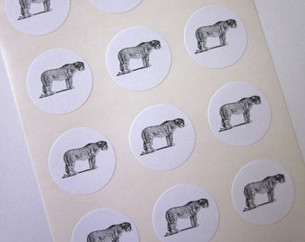 Leopard Stickers One Inch Round Seals