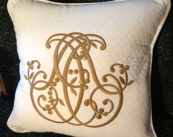 One 12 inch Pillow Cover with Zipper and Piping, Embroidery Work Not Included, Use Your Fabric, Made to Order,Custom.