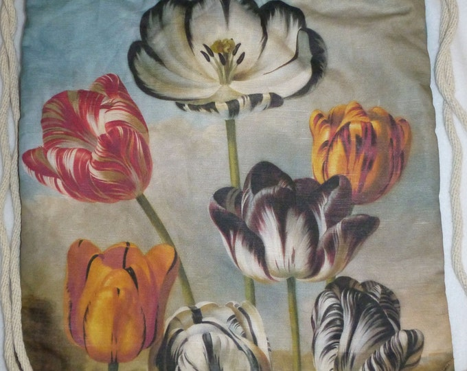 Vintage Tulip Painting Linen-cotton canvas Backpack/tote Custom Print made to order