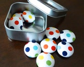 Fabric Button Magnets - Set of 9 Medium Size - Rainbow Polka Dots - Primary Colors