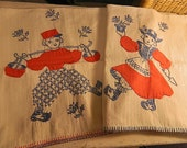 Vintage Towels,HeavyTwill Flour Sacking, Dutch Boy and Girl Embroidered and Appliqued, Cotton SALE : Tip Toe Through The Tulips