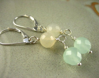 Sea foam Chalcedony faceted gemstone Moonstone Sterling Silver Earrings dangle pastel mint taupe simple gemstone jewelry