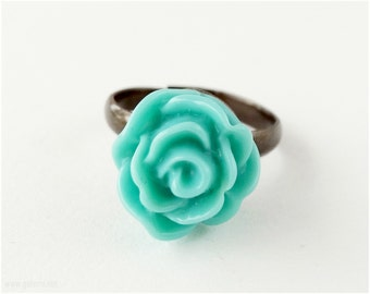 Teal Rose Ring, Adjustable, Copper - Sweet Lolita, Kawaii Jewelry