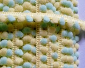 2 yards  -  Cute multiple color Pom Pom Trim - size 10 mm Pastel yellow and mint