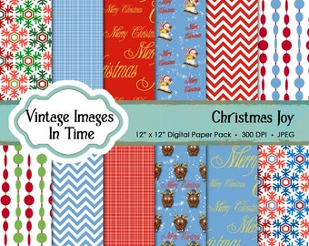 Christmas for Kids digital scrapbook paper; instant download backgrounds and textures