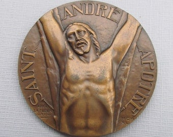 Antique Religious Art Medal French Bronze Saint Andre Art Deco Abel La Fleur 1940