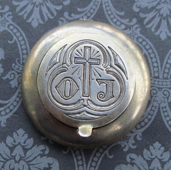 Antique Sterling Silver Catholic Pyx Communion Wafer Holder