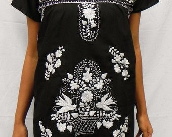 Mexican Black Dress Lovely Tunic White Embroidered Handmade Very Elegant and comfortable  Spring / Summer Collection Small
