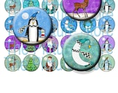 30 Santa and Reindeer Inch Circles Digital Collage Sheet  Instant Download