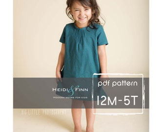 Pintuck Blouse and Dress PDF pattern and tutorial 12m-5t EASY SEW tunic dress jumper