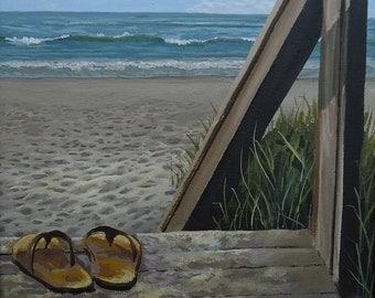 Beach Painting,  Home Decor, Boardwalk Painting, Going Barefoot, Wall decor, Beach Decor