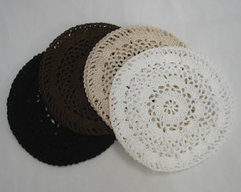 Hair Net / Bun Cover Set of 5 Large Crocheted Black Brown Natural White Gray Flower Style