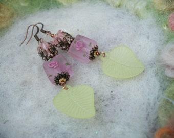 Romantic Pink Earrings, Delicate Leaf