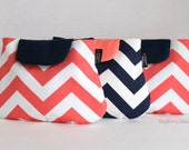 NEW - Coronado Clutch - Coral and Navy Chevron - Bridesmaid Clutches - Set of 3