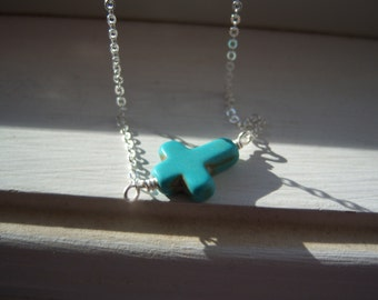 Turquoise Cross Necklace - Cross Necklace - SideWays Cross Necklace