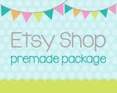 Etsy Shop Banner - Etsy Banner Avatar Set - Premade Design Package - Pennant Banner Start the Party Design