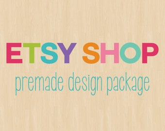 Etsy Shop Design, Etsy Cover and Shop Icon Set, Etsy Shop Banner, Premade Logo Design, Rainbow Colors Wood Background, Modern Package